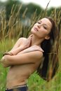 Woman on in the rye nude Stock Images