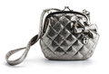 Woman s bag grey with bow Royalty Free Stock Images