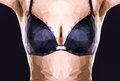 Woman s breasts in bra polygonal image of a Royalty Free Stock Photos