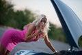 The woman's car broke down Royalty Free Stock Photo