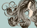 Woman's face with detailed flowing hair Royalty Free Stock Photos