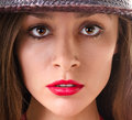 Woman s face portrait of a under the hat Royalty Free Stock Images
