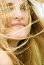 Woman's face in wind. Stock Photography