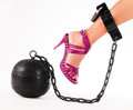 Woman's foot with prison ball Royalty Free Stock Photo