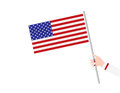 Woman`s hand holding USA flag Royalty Free Stock Photo
