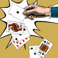 Woman`s hand with playing cards fan. Vintage engraving stylized