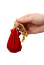Woman's hand with a red bag Royalty Free Stock Photo