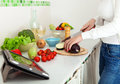Woman's hands cutting vegetables Royalty Free Stock Photo