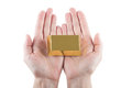 Woman s hands with gold bar over white background Royalty Free Stock Images