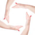 Woman's hands made circle on white background Royalty Free Stock Photo