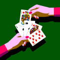 Woman`s hands with playing cards fan Royalty Free Stock Photo