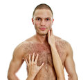 Woman's hands touching man's chest. Royalty Free Stock Photography