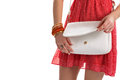 Woman's hands with white bag. Royalty Free Stock Photo