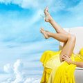 Woman's leg and high heel shoes Stock Images