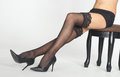Woman's Legs in Black Lace Stockings and Heels Royalty Free Stock Photo