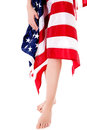 Woman`s legs with usa flag isolated on white background. Royalty Free Stock Photo