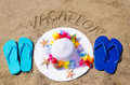Woman s white hat on the sandy beach with starfishes decoration flip flops and sign vacation Stock Images