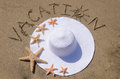 Woman s white hat on the sandy beach with starfishes and sign vacation Stock Photography