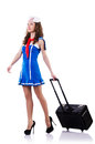 Woman sailor with suitcase on white Royalty Free Stock Photos