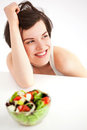 Woman with salad Royalty Free Stock Photo