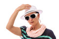 Woman salute white hat with and sunglasses hand on gesture isolated on Stock Images