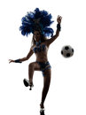 Woman samba dancer playing soccer  silhouette Royalty Free Stock Photo