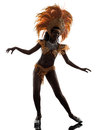 Woman samba dancer silhouette one african dancing on white background Royalty Free Stock Photo