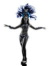 Woman samba dancer silhouette one caucasian dancing on white background Stock Photo