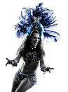Woman samba dancer silhouette one caucasian dancing on white background Stock Images