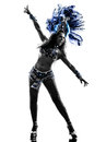 Woman samba dancer silhouette one dancing on white background Royalty Free Stock Images