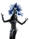 Woman samba dancer silhouette one dancing on white background Royalty Free Stock Photo