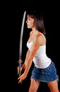 Woman with a Samurai sword Stock Photo