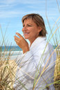 Woman on a sand dune Royalty Free Stock Images