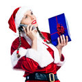 Woman santa claus christmas telephone Royalty Free Stock Images
