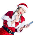 Woman santa claus christmas telephone Stock Images