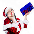 Woman santa claus christmas telephone Royalty Free Stock Image