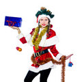 Woman santa claus christmas tree Stock Photography