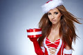 Woman in Santa Claus clothes Stock Photography