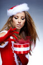 Woman in Santa Claus clothes Stock Image