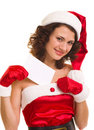 Woman in Santa Claus clothes leaning on blank boar Stock Image