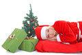 Woman in santa claus costume with gift and tree Royalty Free Stock Image