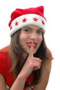 Woman in Santa Claus hat Royalty Free Stock Photo