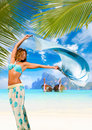 Woman with sarong on the beach pareo in thailand Stock Photos