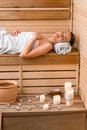Woman in sauna Royalty Free Stock Photo
