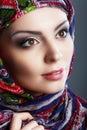 Woman scarf beautiful arabic wearing head Royalty Free Stock Photo