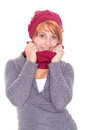 Woman with scarf and cap on a winter day Stock Photo