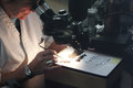 Woman scientist looking through microscope Royalty Free Stock Photo
