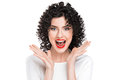 Woman screaming amazed in joy Royalty Free Stock Photo