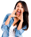 Woman screaming casual isolated over a white background Stock Images