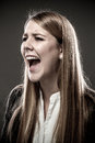 Woman screaming portrait of young Royalty Free Stock Image